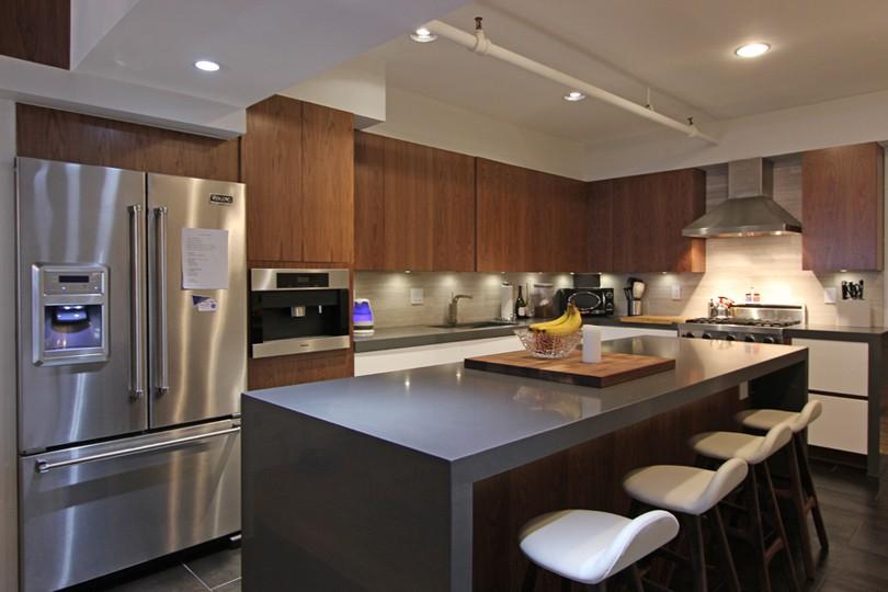 small kitchen dark wood