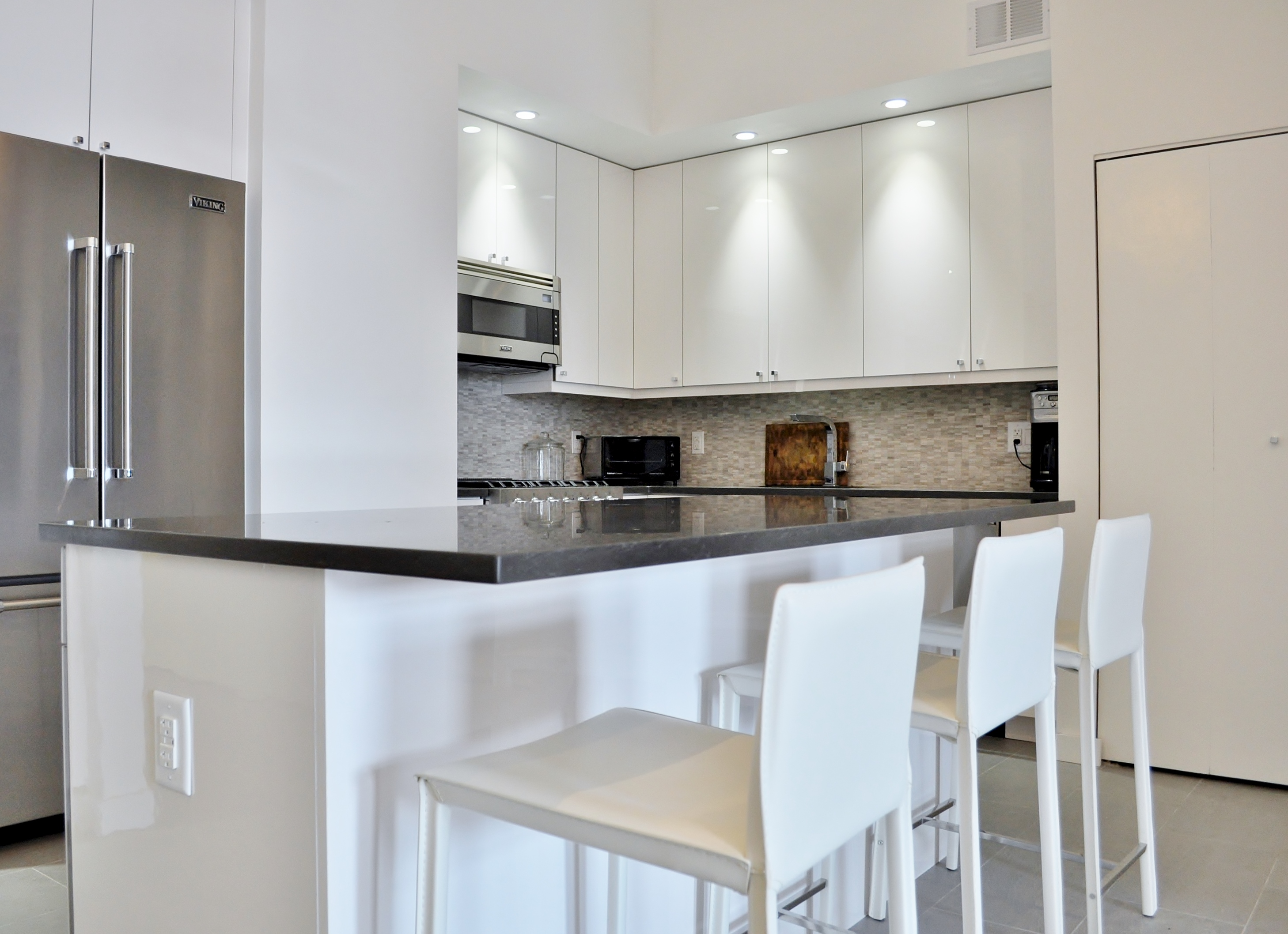 Uncategorized Kitchen Remodel Nyc Shiny Chic White Contemporary Nyc Kitchen  Before After After