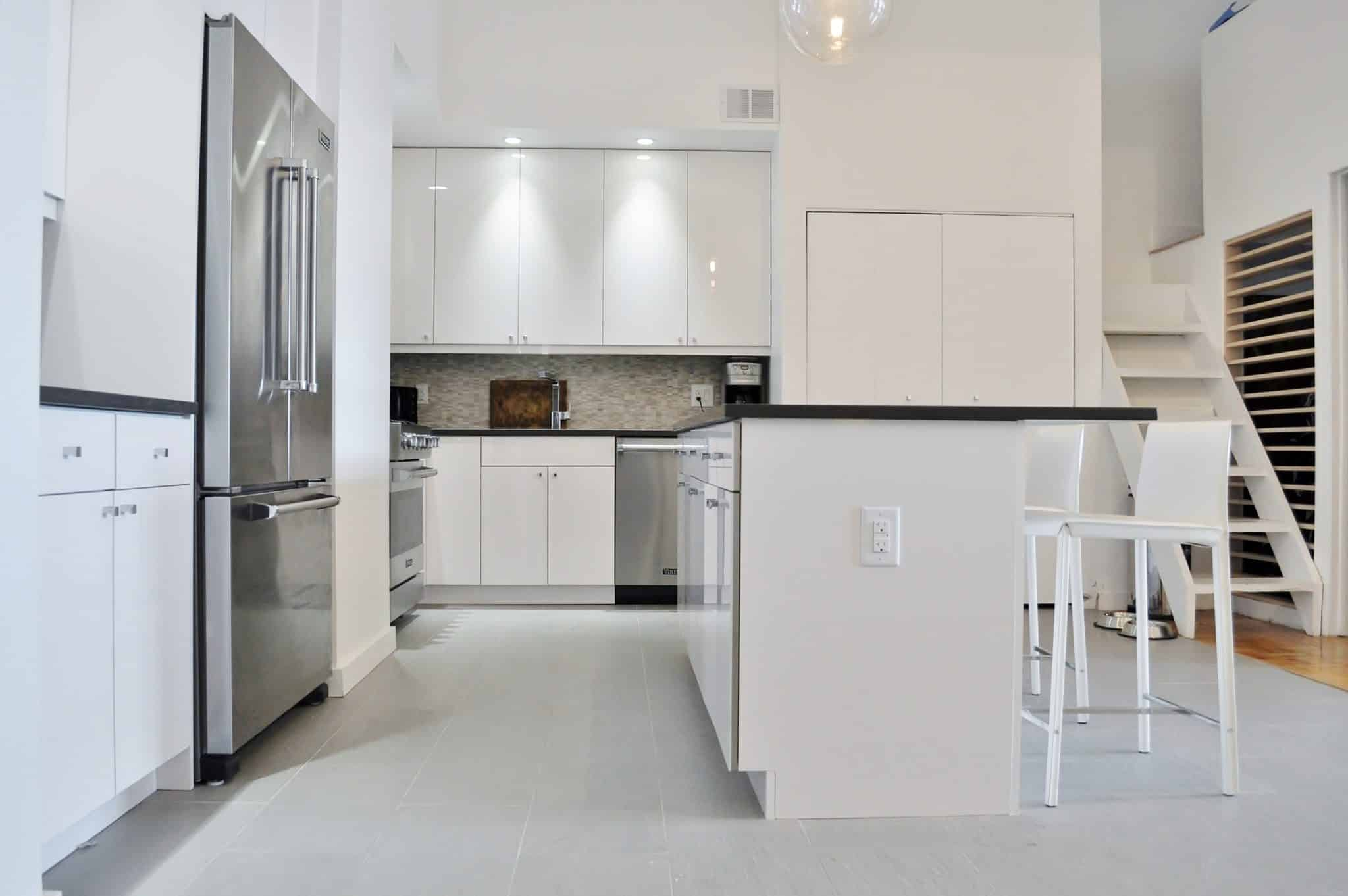 Shiny & Chic White, Contemporary NYC Kitchen (Before & After)