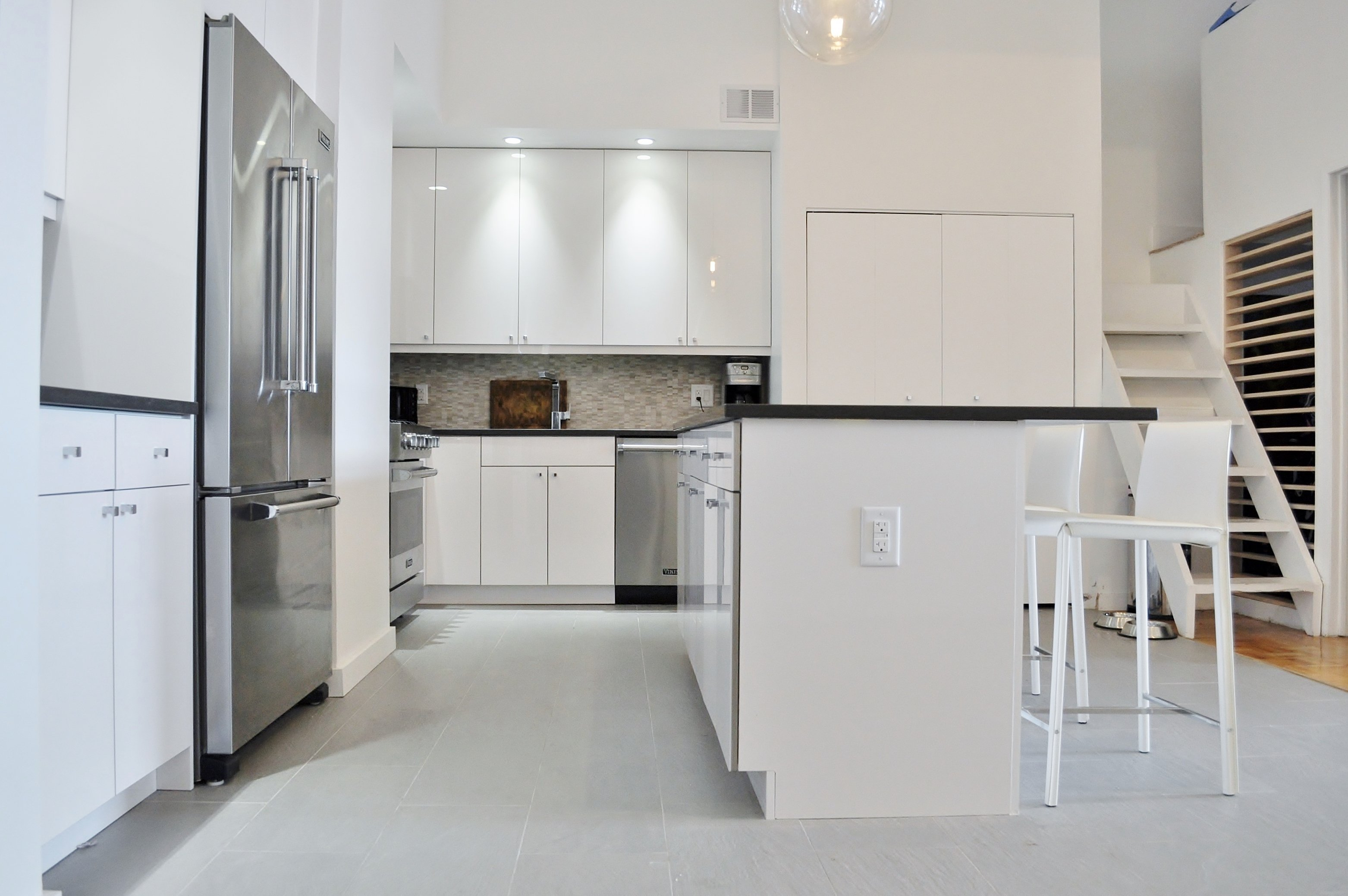Shiny & Chic White, Contemporary NYC Kitchen (Before & After) -