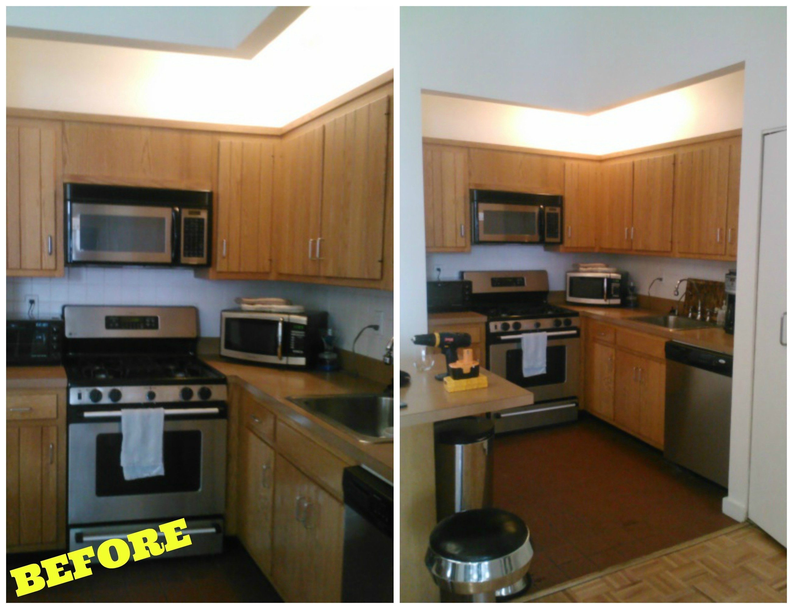 Modern Kitchen Remodel Before And After shiny & chic white, contemporary nyc kitchen (before & after