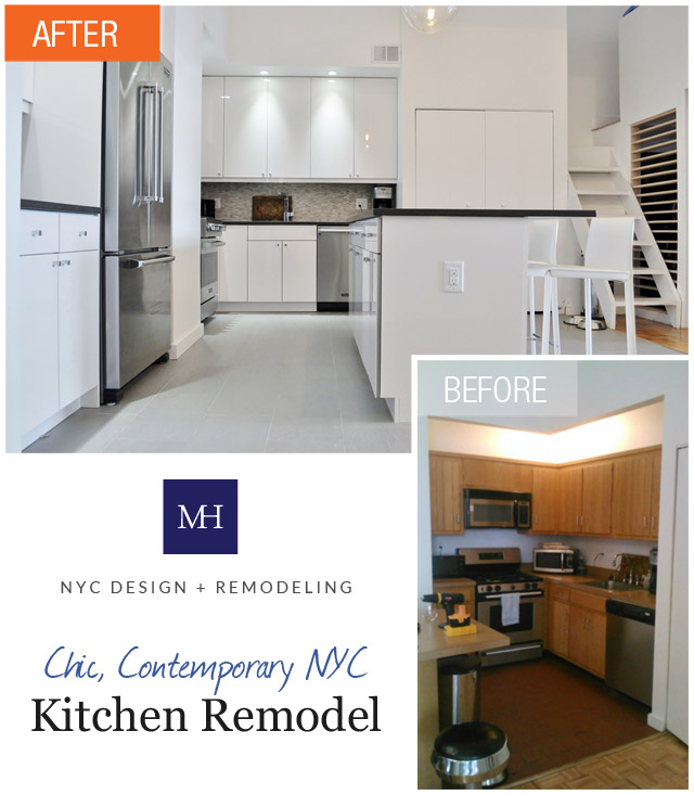 Manhattan Apartment Kitchen Design: Shiny & Chic White, Contemporary NYC Kitchen (Before & After
