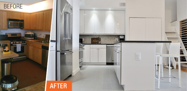Shiny Chic White Contemporary NYC Kitchen Before After Gorgeous Kitchen Remodeling Manhattan Decor Property