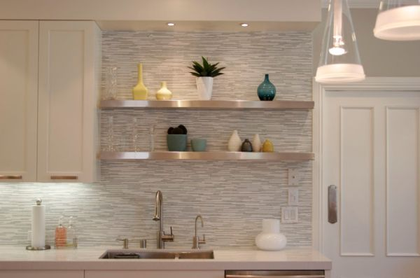 metal shelf kitchen tile backsplash