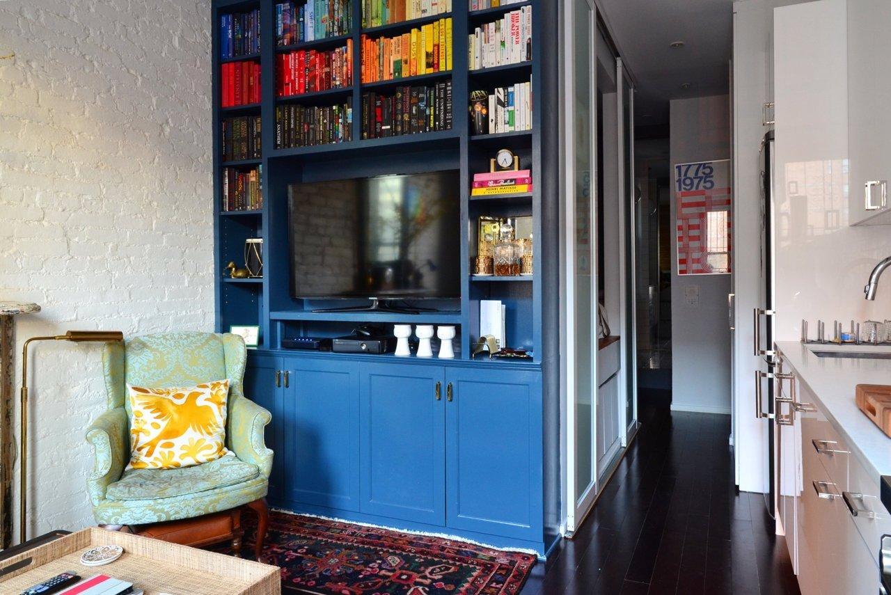 blue custom built in bookcase