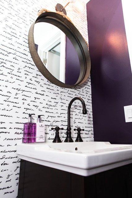 Regal Bathroom Vanity with Purple Accents