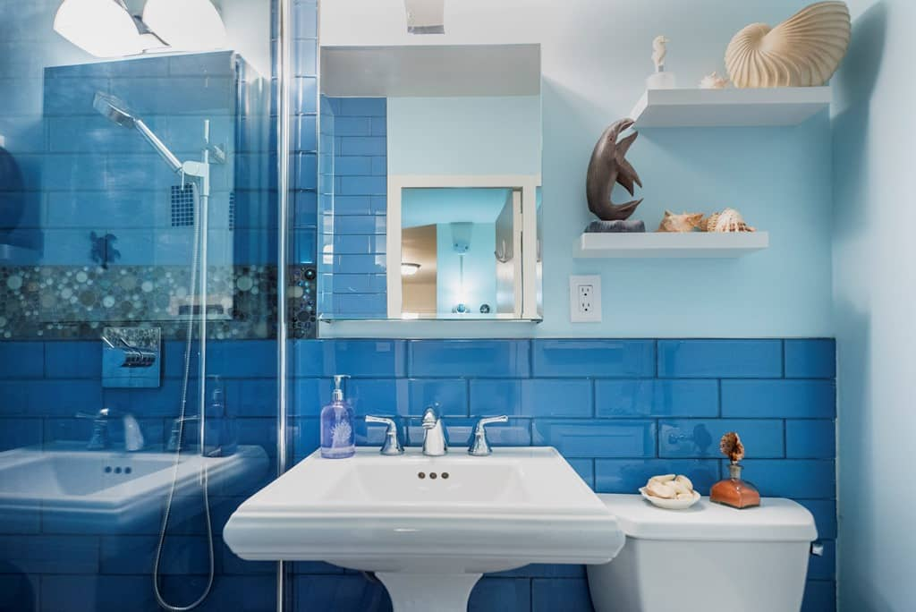 Get inspired by this blue oceanic design for your nyc bathroom for Bathroom decor nyc